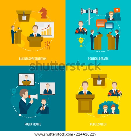 Public speaking flat icons set of business presentation political debates figure speech isolated vector illustration - stock vector