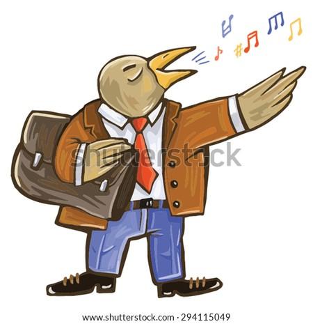 public speaking. People Nightingale. grotesque illustration - stock vector