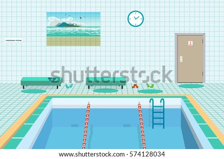 Public swimming pool inside blue water stock vector 574128034 shutterstock How to draw swimming pool water