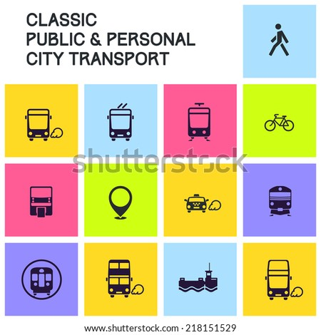 Public transport icon set: classic city and suburban transit icons. Bus, trolleybus, tram/LRT, rapid, commuter, monorail, ferry, taxicab, bike and pedestrian icon. For maps, infographics and apps. - stock vector