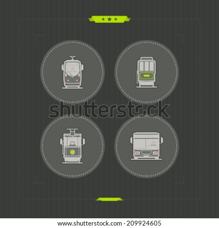 Public transport - various land vehicles, pictured here from left to right, top to bottom -  Modern Tramway, 20. Century Tramway, Old fashion electric tramway, City bus.  - stock vector