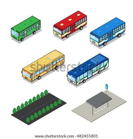 public transportation bus with road and bus stop