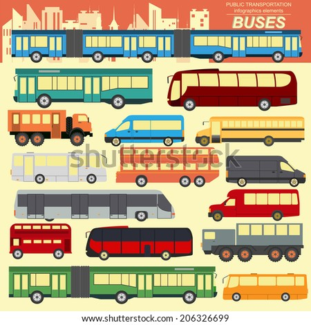 Public transportation, buses. Set elements infographics. Vector illustration