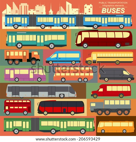 Public transportation, buses. Set elements infographics. Vector illustration - stock vector