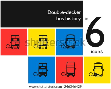 Public transportation icon set. London double-decker bus. Flat vector pictogram of UK classic transit. All history timeline: from old to modern. For maps, infographics, and city-oriented apps. - stock vector