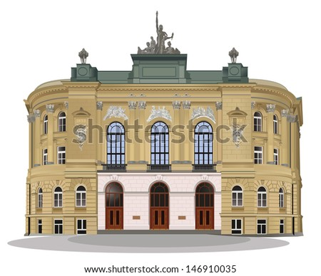 Public Warsaw School of Technology front exterior facade. Color vector illustration. - stock vector