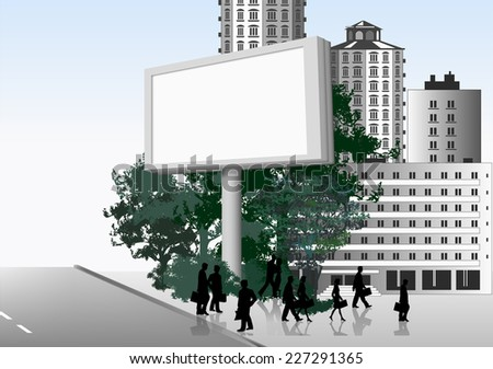 Publicity board in the street. Vector background - stock vector