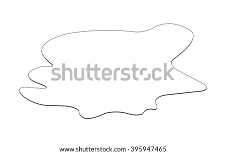 Puddle silhouette, black substance spill. stain, plash, drop. Vector illustration isolated on the white background