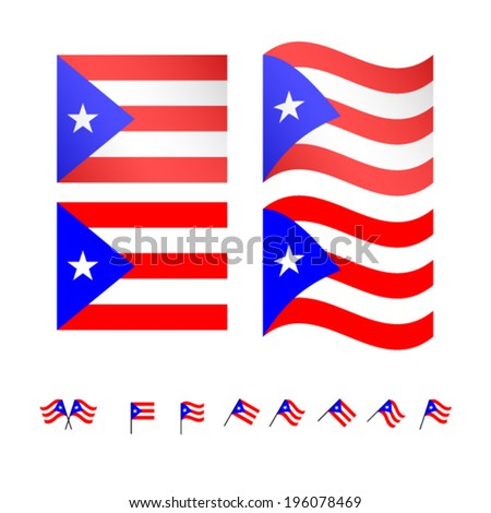 Puerto Rico Flags EPS 10 - stock vector