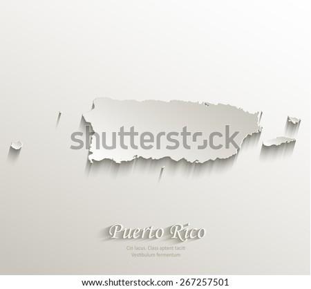 Puerto Rico map card paper 3D natural vector - stock vector