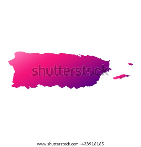 Puerto Rico map with gradient - stock vector