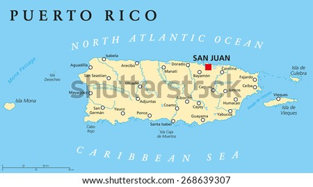 Puerto Rico Political Map Capital San Stock Vector - Puerto rico united states map