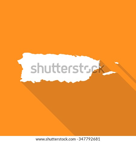 Puerto Rico white map,border flat simple style with long shadow on orange background - stock vector