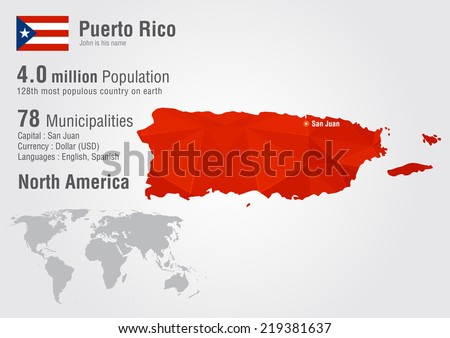 Puerto Rico World Map Pixel Diamond Stock Vector (Royalty Free ...