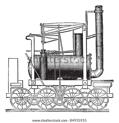 Puffing Billy Locomotive, by William Hedley, vintage engraved illustration. Trousset encyclopedia (1886 - 1891). - stock vector