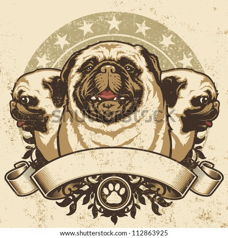 Pug Crest Design. Vector illustration of three purebred pug dogs (front and profile view) sitting proudly over a grunge banner and floral design elements. - stock vector