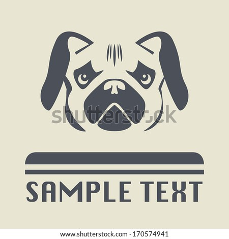 Pug dog icon or sign, vector illustration - stock vector