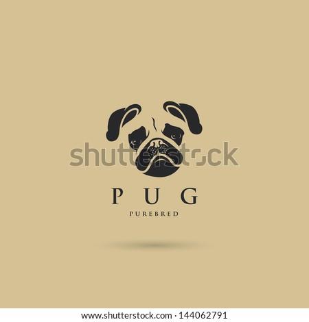 Pug dog label - vector illustration - stock vector