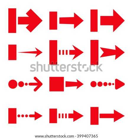 Pull Right vector icon set. Collection style is red flat symbols on a white background.