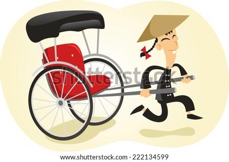 Pulled rickshaw illustration - stock vector