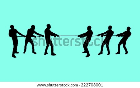 Pulling a rope - stock vector