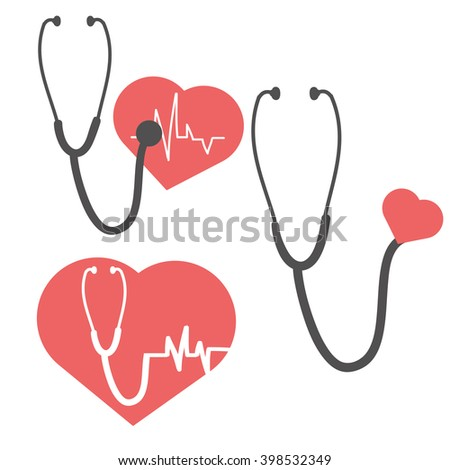 Pulse heart vector and Stethoscope. Pulse care symbol. Element for medicine design. Vector illustration.