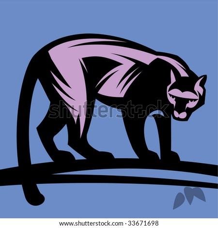 Puma, panther. Without a gradient - stock vector