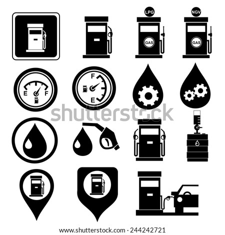 Pump, gas station icons.vector - stock vector