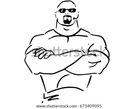 Happy Smiling Bodybuilder Man In Cartoon Style For Sports And Health