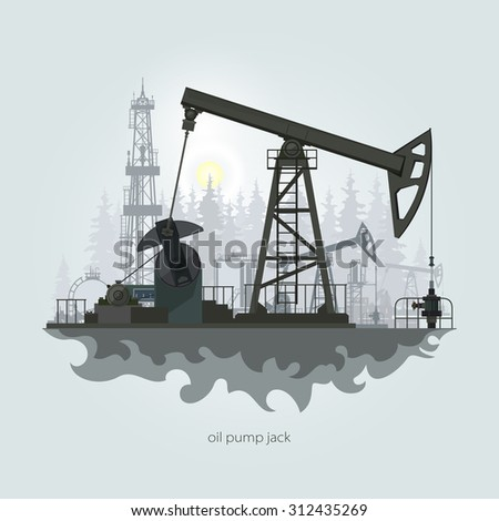 Pumpjack in the Background of Fir Trees and Working Oil Pumps and Drilling Rig, Oil Pump, Petroleum Industry ,  Vector Illustration - stock vector