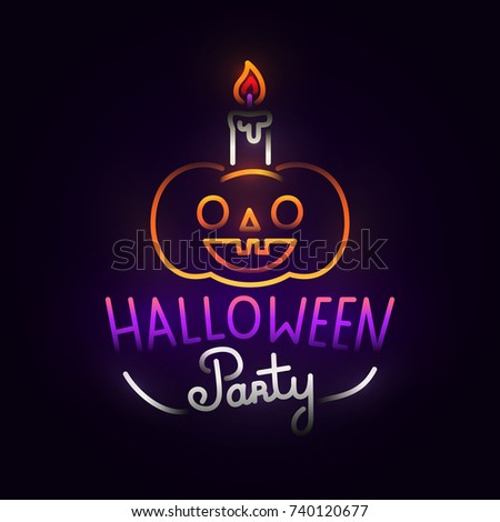 Pumpkin Abstract Logo. Night Party. Happy Halloween. Logo, Label, Emblem