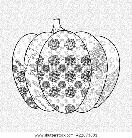 Pumpkin Adult Coloring Book Page Whimsical Stock Vector (Royalty ...