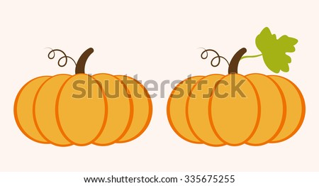 pumpkin and pumpkin with leaves - stock vector