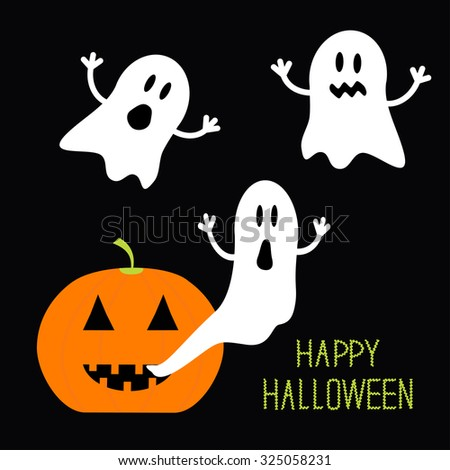 Pumpkin Candles Flying Ghost set. Halloween card for kids. Flat design. Vector illustration - stock vector