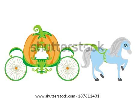 pumpkin carriage - stock vector