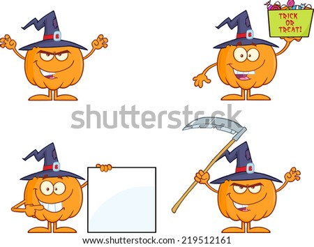Pumpkin Cartoon Mascot Character Series 5. Vector Collection Set - stock vector