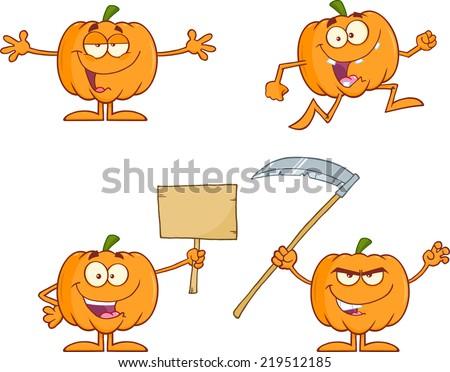 Pumpkin Cartoon Mascot Character Series 2. Vector Collection Set - stock vector