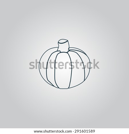 Pumpkin. Flat web icon or sign isolated on grey background. Collection modern trend concept design style vector illustration symbol - stock vector