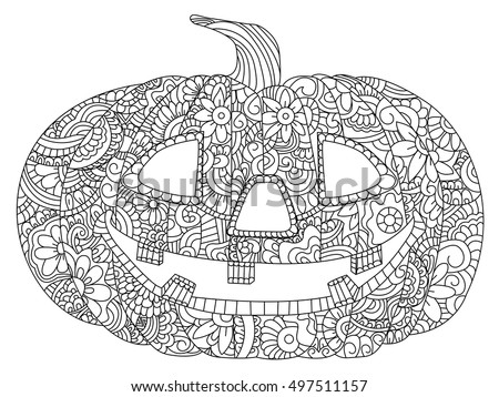 Pumpkin Halloween Coloring Book Vector Illustration Stock 497511157