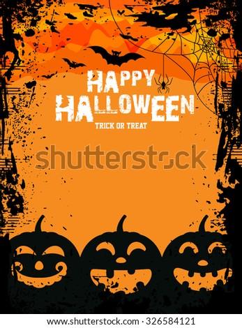 Pumpkin for Happy Halloween / Happy Halloween Poster / Halloween Party Poster  - stock vector