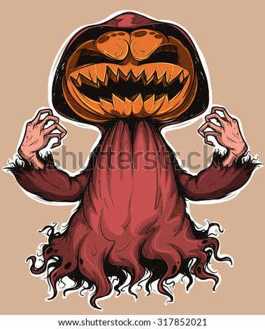 Pumpkin ghost. Colored. Handcrafted style