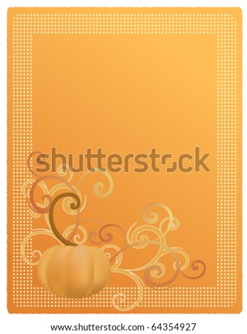 Pumpkin Harvest Illustration for Invitation, Announcement, or Menu. EPS10 - stock vector