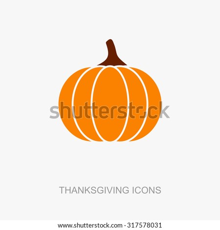 Pumpkin icon, Harvest Thanksgiving vector illustration - stock vector