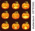 Pumpkin icons - stock vector