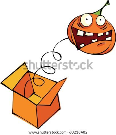 Pumpkin in the box - stock vector