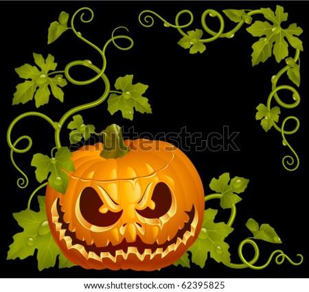 Pumpkin Jack vintage corner isolated on black - stock vector