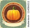 Pumpkin label with scroll for text.Vector vintage icon on old paper texture - stock vector