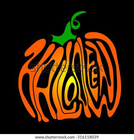 Pumpkin lettering for Halloween on a background. Vector. EPS - stock vector