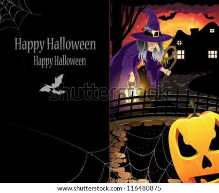 Pumpkin monster and old witch with a lantern near the house with glowing windows. Abstract Halloween card with place for text. - stock vector