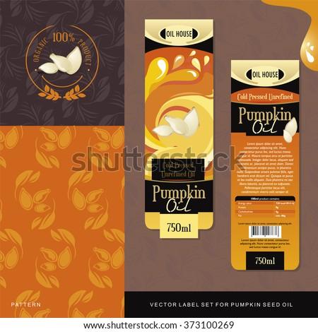 Pumpkin Seed Oil vector label set - stock vector